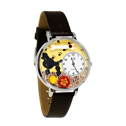 Whimsical Watches Unisex U0130059 Poodle Black Skin Leather Watch Dogs Womans Italian Charms Watches