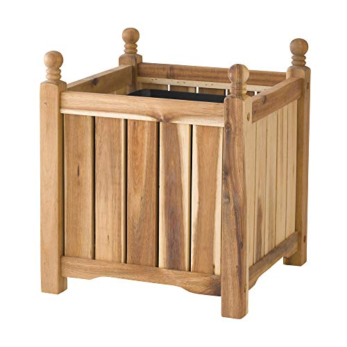 DMC Products 70301 14-Inch Lexington Square Solid Wood Planter, Natural