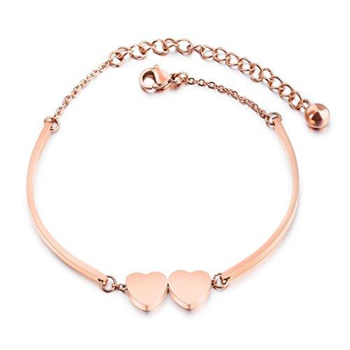 Heart Bangle for Women Rose Gold Heart Bracelet Adjustable Stainless Steel