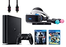 PlayStation VR Start Bundle 5 Items:VR Headset,Move Controller,PlayStation Camera Motion Sensor,PlayStation 4 Slim 500GB Console - Uncharted 4,VR Game Disc RIGS Mechanized Combat League