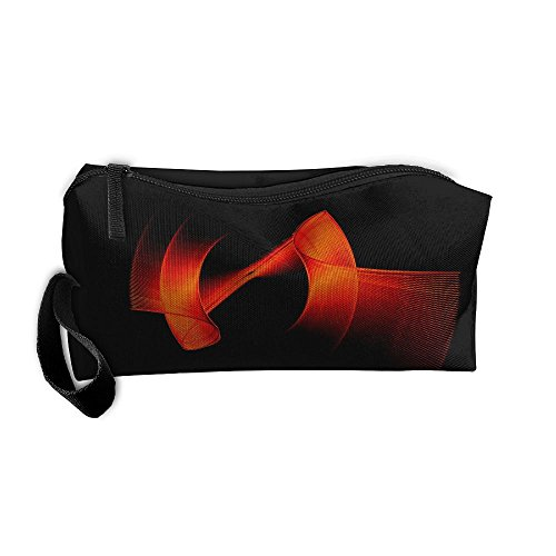 Storage Bag Appropriate Capacity Portable Makeup Cosmetic Bags Organization Pouch With Handle Red Circles Lines Background
