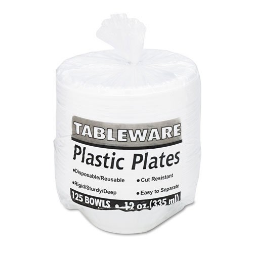 Tablemate Plastic Dinnerware, Bowls, 12oz, White, 125/Pack (Dinnerware Plastic Tablemate)