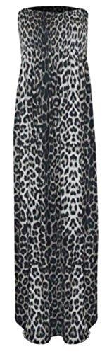 Ditzy Fashion Women's Plain Sheering Boob Tube Maxi Dress (SM 8-10, Leopard Print) ()