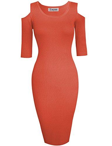 TAM WARE Womens Stylish Cut Out Shoulder Bodycon Knit Midi Dress TWCWD121-D160-CHERRYTOMATO-US L