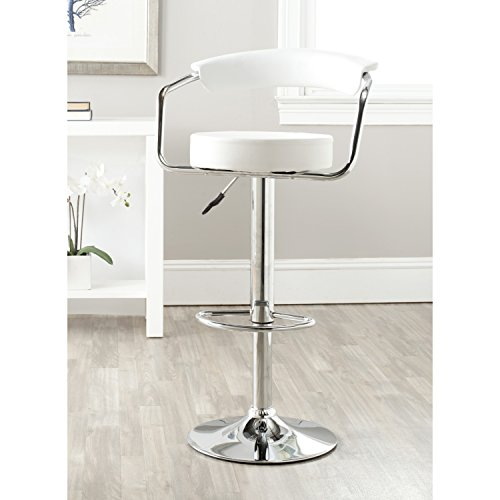 Safavieh Home Collection Angus White Adjustable Swivel Gas Lift 25.2-31.5-inch Bar Stool