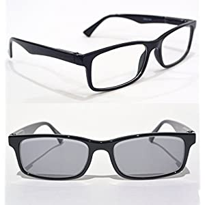 transition NEARSIGHTED READING GLASSES for distance myopia with PHOTOCHROMIC LENS minus power -1.50