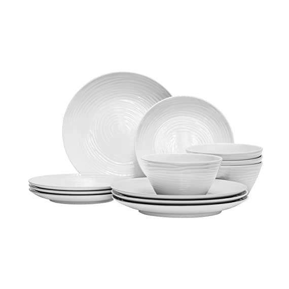 Parhoma White Melamine Plastic Home Dinnerware Set, 12-Piece Service for 4 - 12-piece round dinner set includes 4 dinner plates, 4 bread, and butter plates and 4 soup and salad bowls 100% Melamine material provides durability to resist chip, crack, and break. Melamine is a hard PLASTIC that can stand up to the rigors of everyday use. Safe and Easy Use - BPA Free, Dishwasher Safe, Stain Resistance, Heat Resistance up to 212° Fahrenheit temperature. Melamine dinnerware used in the MICROWAVE is NOT recommended. - kitchen-tabletop, kitchen-dining-room, dinnerware-sets - 41X oQXIunL. SS570  -