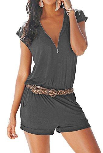 Romper Summer Sexy Short Sleeve Zipper Cute V Neck Playsuit One Piece Jumpsuit Jumper Gray 01 L ()