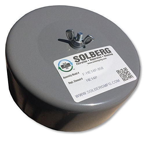 "Solberg Professional F-HE14P-050 - 4""x6"" Compact Inlet Filter - 0.5"" Outlet With Large Gap For High Flow Hepa Filter Intake - Heavy Gauge Diameter Steel Housing Cover"