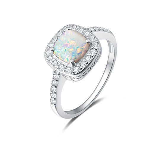 (Carleen 14K White Gold Plated 925 Sterling Silver Created Opal and Cubic Zirconia Halo Engagement Ring for Women Girls (8))