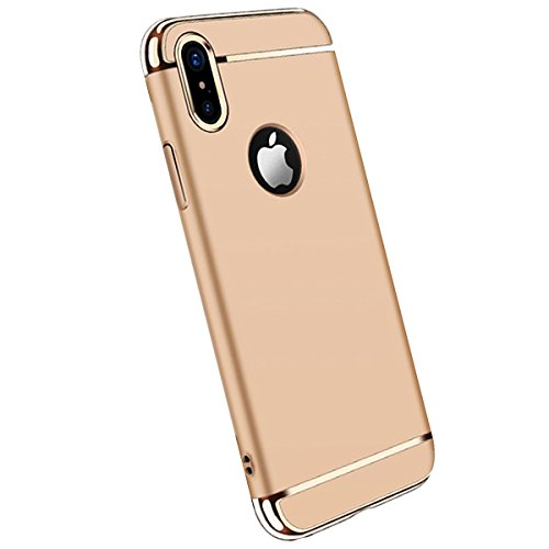 Price comparison product image Meweri 3 In 1 Shockproof Protection Ultra Thin PC Hard Case with Electroplate Frame for iPhone X Case (iPhone X, glod)