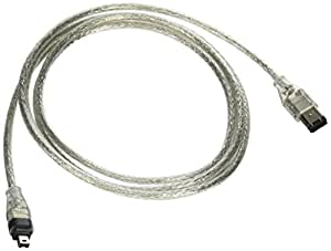 Monoprice 6-Feet IEEE-1394 FireWire iLink DV Cable 6P-4P M/M, Clear (101991)