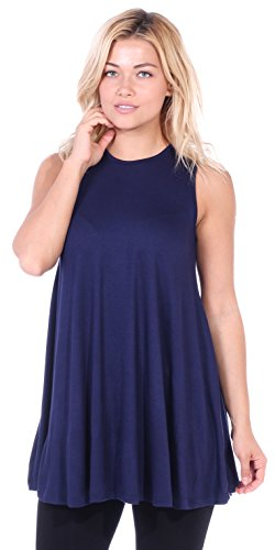 Popana Women's Casual Sleeveless Summer Floral Tunic Tank Tops S-3X Made in USA Navy (Tank Top With Jewels)