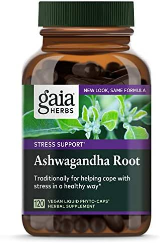 Gaia Herbs Ashwagandha Root, For Stress Relief, Immune Support, Balanced Energy Levels and Mood Support, Vegan Liquid Capsules, 120 Count