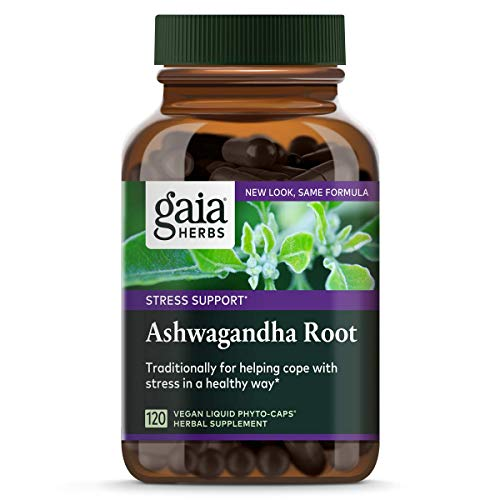 (Gaia Herbs Ashwagandha Root, Vegan Liquid Capsules, 120 Count - For Stress Relief, Immune Support, Balanced Energy Levels and Mood Support, PACKAGING MAY VARY)