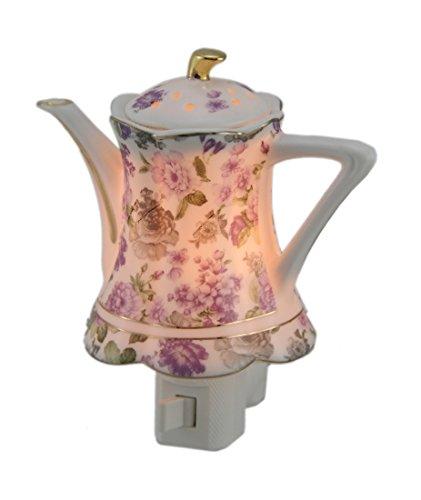 Porcelain Teapot Night Light Pink Floral Design (Hall Porcelain Teapot)