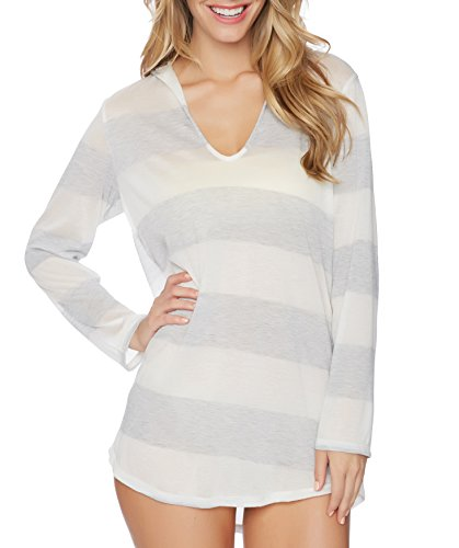 Splendid Women's Homespun Hood Tunic Cover up, Gray, XS