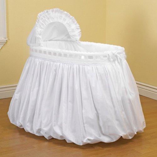 BabyDoll Pretty Ribbon Bassinet Set, White baby doll bedding 2050bas-white