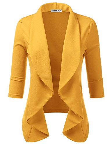 TWINTH Women's Solid & Printed Open Blazer Cardigan Jacket Mustard X-Large