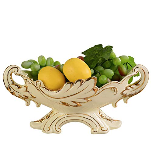 Bowl Ivory Fruit (DABENXIONG Ivory Gilded Ceramic Fruit Bowl Antique Snack Nuts Dried Fruit Bowl Home Décor Centerpiece Great Still Life Photography Props)