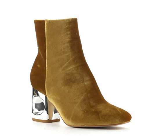 Cape Robbin Carla Chic Cutout Block Metal Heel Velvet Ankle Bootie Gold 9glQTNBlL