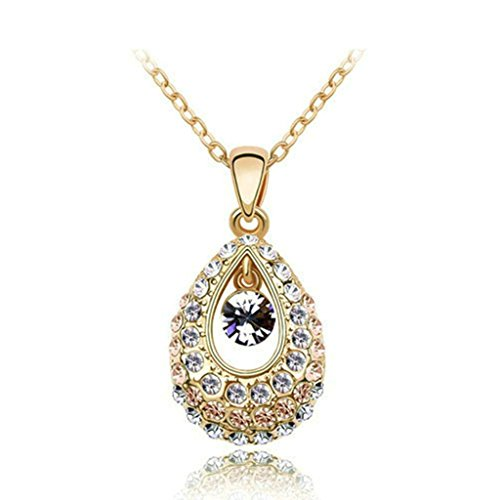 [Womens Girls 18K Gold Plated Link Necklace Glass Locket White-Purple-Pink - Aooaz Jewelry] (Dollar Jumbo Glasses)