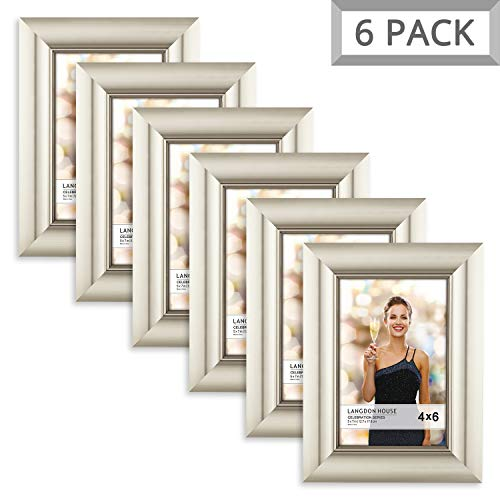 (Langdons 4x6 Picture Frame (6 Pack, Champagne), Photo Frame 4 x 6, Wall Mount or Table Top, Set Of 6 Celebration)