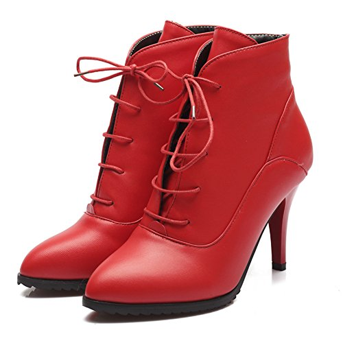 Mode Talon Femmes Stiletto Talon Bout Pointu Robe À La Main Bottine Rouge
