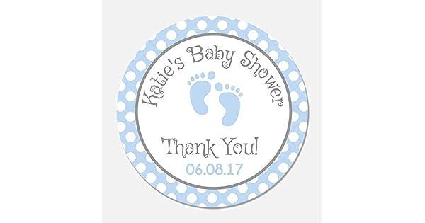 Amazon.com: 40 personalizado azul pies de bebé ducha favor ...