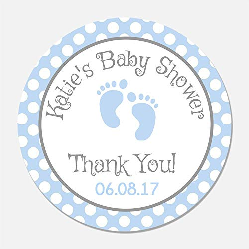 40 Personalized Blue Baby Feet Shower Favor Stickers - Baby Boy Favor Tags - Customized Baby Shower Favors -