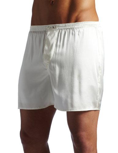 Intimo Men's Classic Stretch Silk Boxers, Ivory, ()