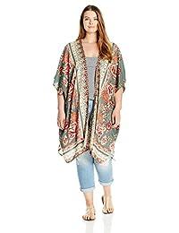 Angie Womens Printed Kimono Duster Long Cardigan Jacket