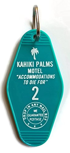 The Devil's Rejects Kahiki Palm's Motel Inspired Key Tag in Teal and White