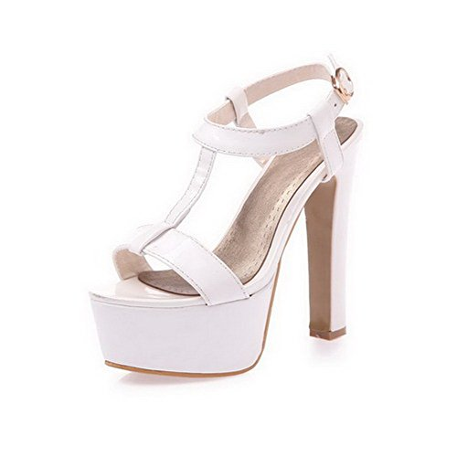 AgooLar Women's Solid PU High Heels Open Toe Buckle Sandals White JMBzUduuma