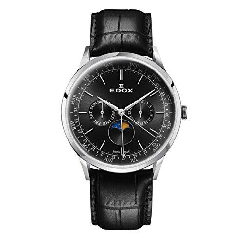 EDOX Reloj Analogico para Hombre de Cuarzo con Correa en Cuero 40101-3C-NIN