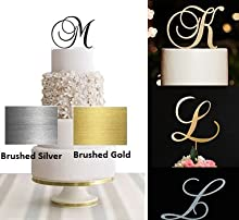 Monogram Acrylic Letter Cake Toppers In Brushed Gold or Brushed Silver A B C D E F G H I J K L M N O P R S T U V W (Letter D, Brushed Gold)