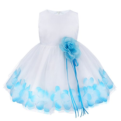 TIAOBU Baby Girls Flower Petals Tulle Formal Bridesmaid Wedding Party Dress (12-18 Months, Blue)