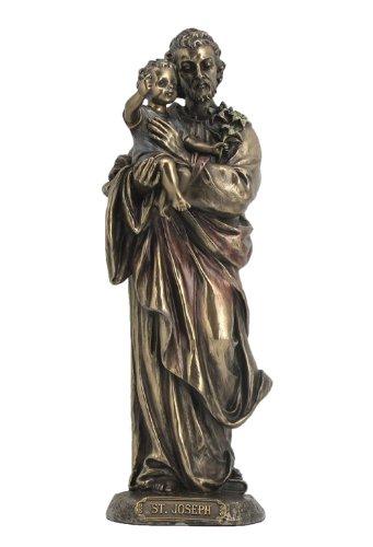 Saint Joseph Holding Baby Jesus Statue Sculpture (Bronze) ()