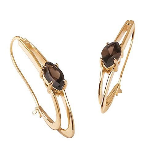 Marquise-Cut Genuine Smoky Quartz 14k Gold-Plated Oblong Double Hoop Earrings (54mm) ()