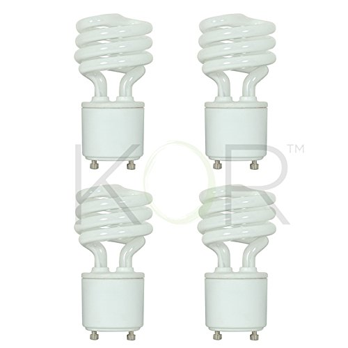 (Pack of 4) 13 Watt Mini Spiral - GU24 Base - (60W Equivalent) - T2 Mini-Twist - CFL Light Bulb - 5000K Bright White ()