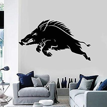 wZUN Calcomanía de Pared de Cerdo Salvaje Tienda de Caza de jabalí Animal Tribal decoración de Interiores Pegatina de Vinilo Arte Creativo extraíble 57X32 cm