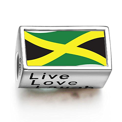 FERVENT LOVE Jamaica Flag Photo Charm Bead Live Love Laugh Fit Charm Bracelet