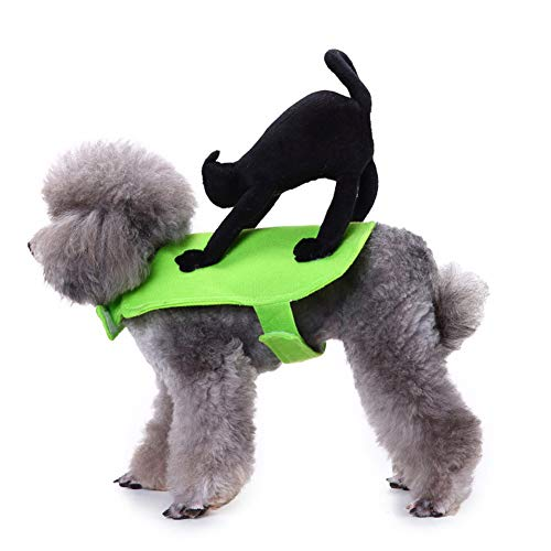 Yu-Xiang Pet Riding a Cat Costume Designed Dog Apparel Party Dressing up Clothing Halloween