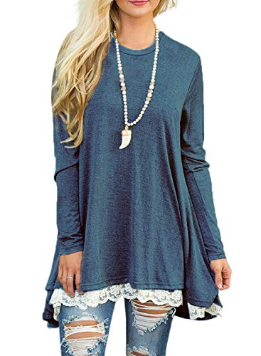 - Sanifer Women Lace Long Sleeve Tunic Top Blouse (Medium, Blue)