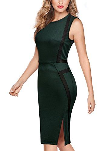 Bodycon Pencil Miusol Style Contrast Green Slim Dress Women's Business Dark Sleeveless Work 0Aq80B