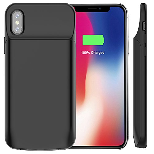 Idealforce IPhone X Battery Case,6000mAh External Magnetic Backup Power Bank Pack Battery,Portable Power Charger Protective Charging Case for Iphone x/Iphone 10 (6000mAh 602 Black) 6000 Mah External Battery