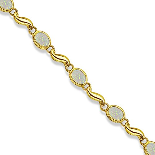 Bezel-Set Oval Opal Bracelet in 14K Yellow Gold (7x5 mm) 14k Yellow Gold Opal Bracelets