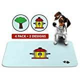 Cute Washable Puppy Pee Pads | 4 Pack Fire Hydrant, Tree Designs | Large Super Absorbent Wee Wee Potty Mats | Dog Housebreaking, Pet Crate Training | Multi-Purpose Reusable Eco-Friendly | Whelping