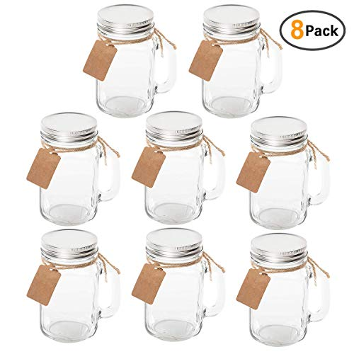on Jars With Handle Lids with Chalkboard Labels and Tin Lids 16 OZ For Favors ()