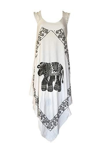 (India Boutique Crochet Dress Embroidery Summer Beach Handkerchief Umbrella Dress (White/Elephant))
